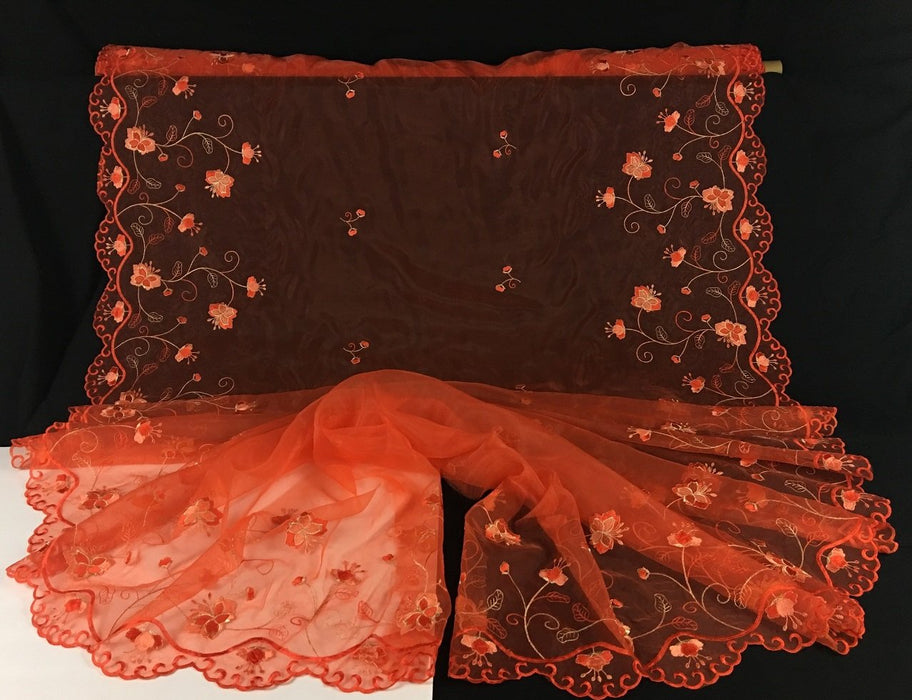 "Embroidered Organza Fabric Butterfly Flower Design, Double Border, 52"" Wide, Orange & Gold, Multi-Use Garments Costumes Curtains Decoration"