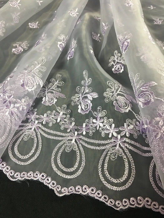 "Embroidered Organza Fabric Angel Flowers, Double Border, 52"" Wide, Choose Color, Multi-Use Garments Costumes Curtains DIY Sewing"