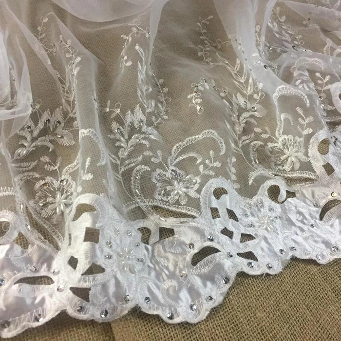 "Bridal Fabric Satin Border Hand Cut Beaded Embroidered Organza, 52"" Wide, White, Multi-Use Wedding Events Children Garments Costumes Curtains DIY Sewing"