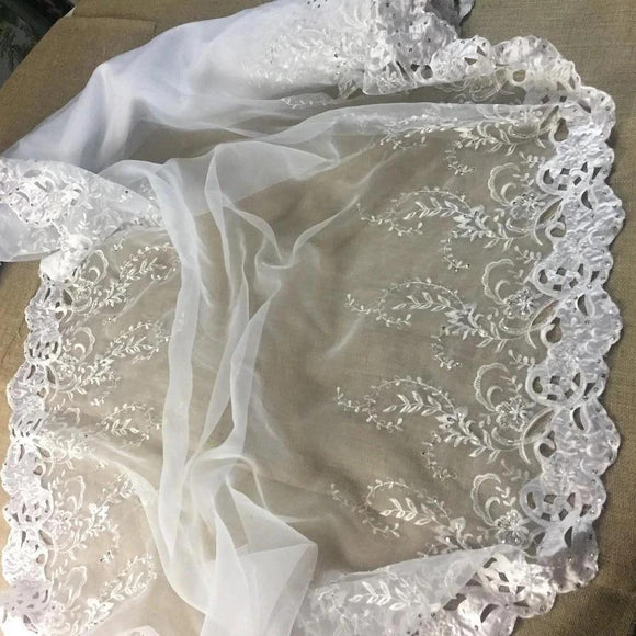Bridal Fabric Satin Border Hand Cut Beaded Embroidered Organza, 52