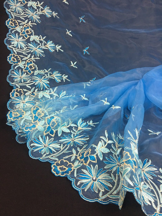 "Bridal Organza Fabric Rhinestone Sunburst Floral Design, Double Border, 52"" Wide, Choose Color, Multi-Use Garments Costumes Curtains DIY Sewing"