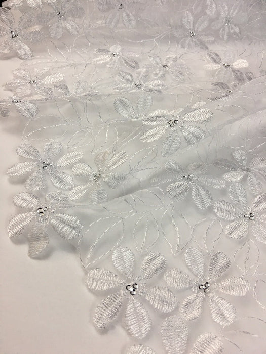"Bridal Organza Fabric Full Border Magic Snowflakes Design, 52"" Wide, White with Silver Sequins, Multi-Use Skirt Dolls Communion Baptism Garment"