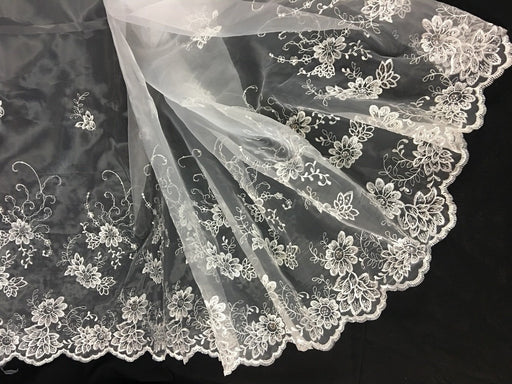 "Bridal Organza Fabric Happy Flower Party Design, 52"" Wide, White with Silver Sequins, Multi-Use Garment Skirt Dolls Communion Baptism"