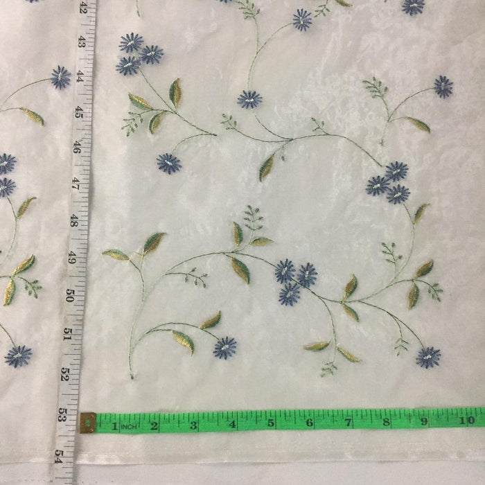 "Embroidered Organza Fabric Beautiful Allover Dancing Daisy Flowers Detailed Embroidery, 58"" Wide, Choose Color.  Multi-Use Garments Costumes Curtains"