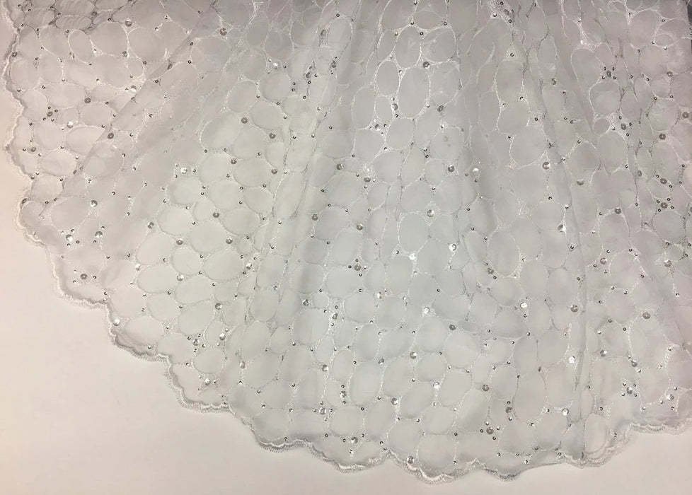"Bridal Embroidered Organza Fabric Holly Eggs Web Design Double Border, 52"" Wide, White with Silver Sequins, Multi-Use Garment Communion Baptism"