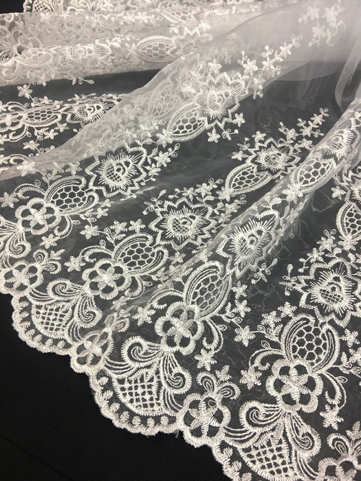 "Embroidered Organza Fabric Fancy Aztec design Double Border, 52"" Wide, White, Multi-Use Garment Bridal Gowns Communion Christening Baptism"