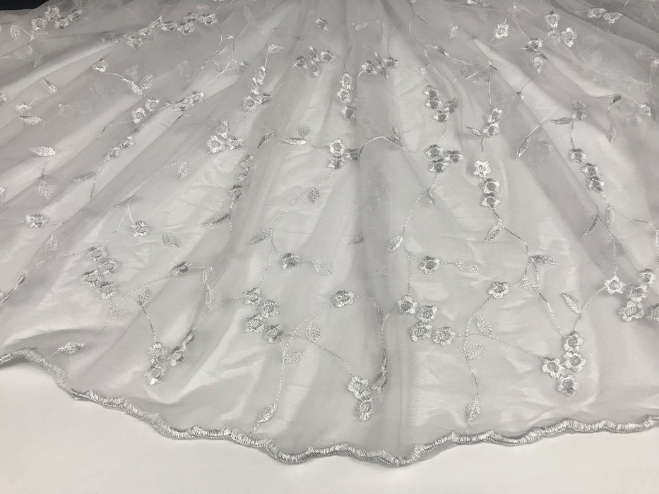 "Embroidered Mesh Fabric Daisy Dance Party Design Allover Double Border, 52"" Wide, White, Multi-Use Garment Table Backdrop"