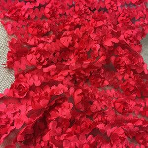 "3D Raised Fabric Ruffle Ribbon Carnation Flowers Design Allover on Mesh, 52"" Wide, Choose Color, Multi-Use Garments Table Overlay Backdrop Decoration Costume Wedding"