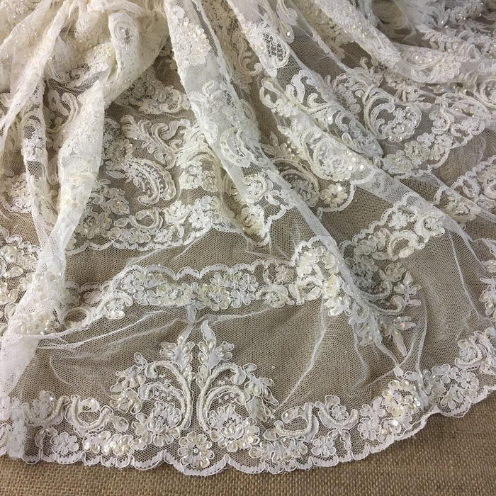 "Bridal Lace Fabric Hand Beaded Corded Allover Double Border Vintage French Alencon, 52"" Wide, Ivory, Multi-Use Cut Parts or Use as is"