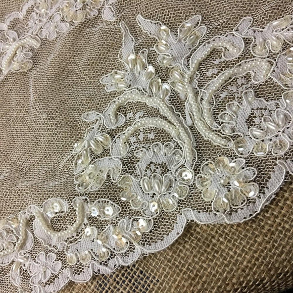 Bridal Lace Fabric Hand Beaded Corded Allover Double Border Vintage French Alencon, 52