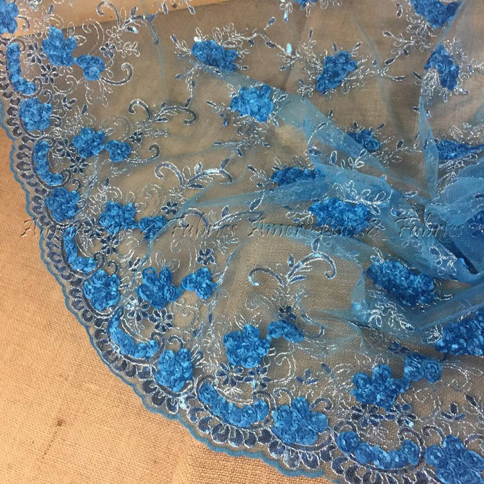 "3D Raised Fabric Lace Silver Cord Ribbon Sequins Embroidered Floral Allover Mesh, 52"" Wide, Choose Color, Multi-Use Garments Table Overlay Costume Backdrop"