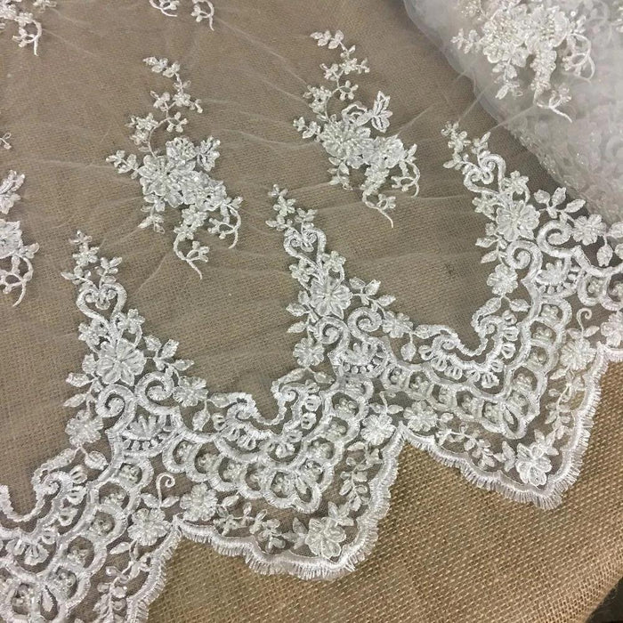 "Bridal Lace Fabric Full Beaded Corded Embroidered Allover Vintage French Alencon, 52"" Wide, Choose Color, Cut Parts or Use as is Double Border"