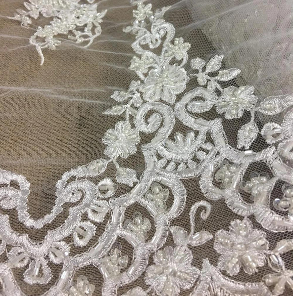 Bridal Lace Fabric Full Beaded Corded Embroidered Allover Vintage French Alencon, 52