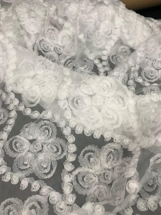 "3D Raised Fabric Fluffy Soft Chiffon Flower Design Allover on Mesh Fabric, 49"" Wide, Choose Color, Multi-Use Garments Table Overlay Backdrop Decoration Wedding Costume"