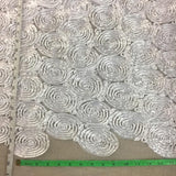 "Ribbon Flower Fabric 3D Raised Spiral Circle Design Allover on Mesh, 52"" Wide, White, Multi-Use Garments Table Overlay Costume Backdrop Decoration Events Props"