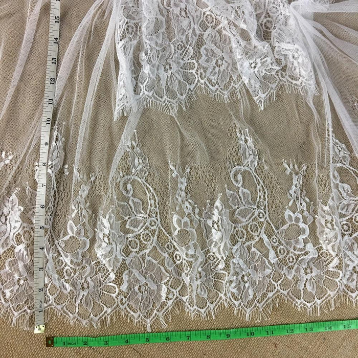 "Eyelash Lace Chantilly Fabric Light Weight Graceful French Double Boarder, 60"" Wide, Choose Color. Multi-Use Garments Bridal Veils Communion Christening Baptism Costume"