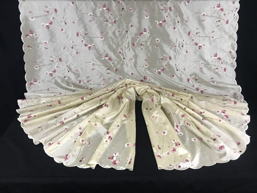 "Cherry Blossom Embroidered Taffeta Fabric Full Allover Double Border, 52"" Wide, Choose Color, Use for Apparel Costumes Table Overlay Curtains"