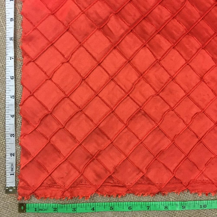 "Pintuck Taffeta Fabric 1"" Diamond Squares, 100% Poly, 52"" Wide Beautiful Orange Color, Use for Garment Tablecloth Overlay Backdrop Decoration Events Costumes"