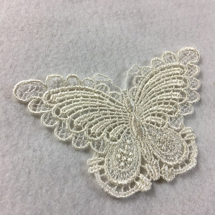 "Butterfly Applique Lace Embroidery Venise Piece Motif Patch 2.5"" x 4"" Ivory, Multi-Use ex. Garments Costume DIY sewing Arts Crafts Scrapbooks"