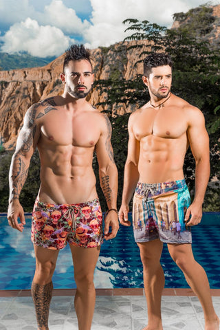 Bright, bold, & trendy is the hallmark of Arrecife men's swimwear. This popular brand offers men's swim trunks in robust, vibrant colors that call attention to any guy wearing them. Each Arrecife men's swimsuit is fashioned after a pair of vintage shorts, making the style original and the wearer unique. Arrecife swimwear provides a relaxing fit and plenty of coverage.