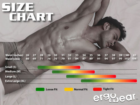ErgoWear Size Chart ErgoWear offers the best Men's pouch underwear, swimwear, and gymwear! ErgoWear is the world's first and leading brand to specialize in men's ergonomic underwear, swimwear and athletic apparel. Since 2002, ErgoWear has been offering the most comfortable pouch underwear, swimwear and athletic apparel including male thongs, bikinis, boxer briefs, mini boxers, jockstraps, square cuts, compression shorts, long johns and swim suits for men. Whether you're new to the world of sophisticated undergarments for men, or in need of functional underwear, or just a hardcore underwear fan, you'll find what you're looking for with ErgoWear!