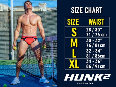 HUNK2 is a brand new brand for men that is totally made for the mature, masculine, sporty male who likes to feel both sexy and athletic at the same time.  This brand mixes well with sports, leisure and pleasure.  Size Chart.