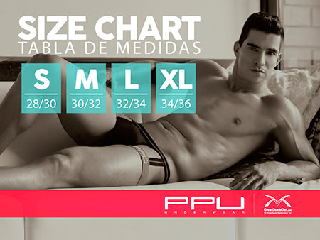 PPU Size Chart PPU Men's Underwear takes your underwear over the Top! With a unique collection of jockstraps, thongs, boxer briefs, briefs and harnesses that take sexy to a sporty new level, PPU men's underwear combines sexy and sporty into what you wear down there. Fabrics like stretch microfiber, see-through mesh and completely sheer fabrics will stimulate your body while PPU's profile-enhancing style may even make you feel a bit naughty!