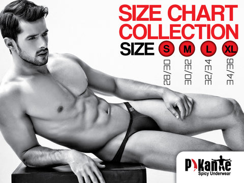 PiKante Size Chart The Pikante collection is all about high visibility - virtually every style features an unexpected detail designed to show a sexy glimpse of skin. The styles range from  men's thongs, g-strings, jockstraps, briefs, bikinis and boxer briefs to the spiciest swim suits you can find!