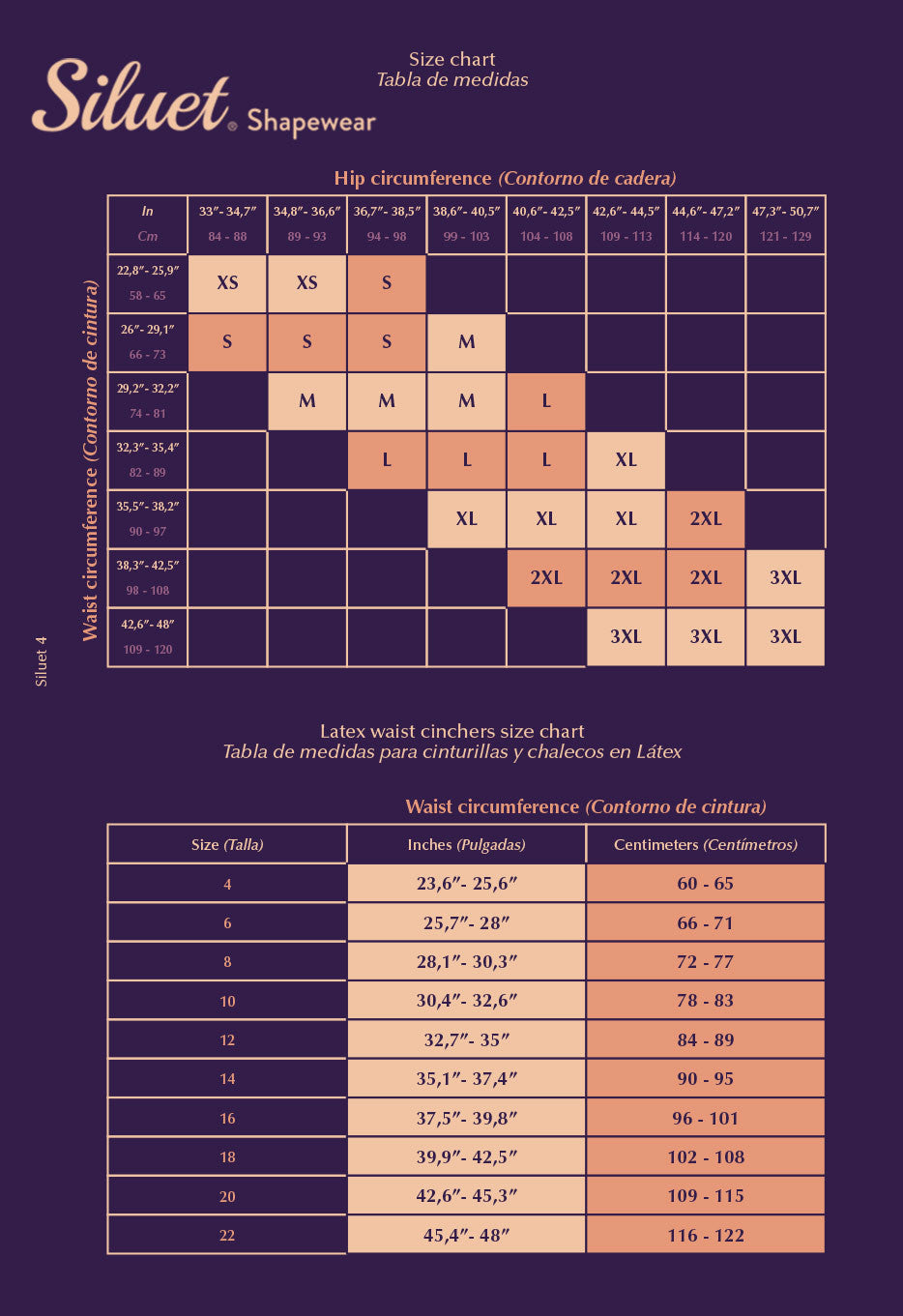 Siluet Size Chart - Shapewear for Women
