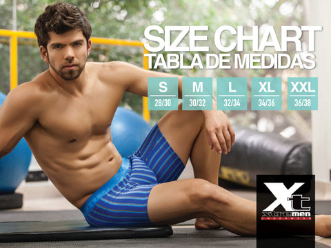 Xtremen Size Chart Xtremen men's underwear is designed to provide the best of style and endurance. Every Xtremen men's underwear style is made from high-quality fabric and innovative design. Fabrics include stretch microfiber, athletic micro mesh, and a cotton mesh blend that ensure long lasting comfort and amazing support. Xtremen men's underwear come in trunks and boxer briefs, the ideal underwear to wear every day, when comfort is key and style is essential.