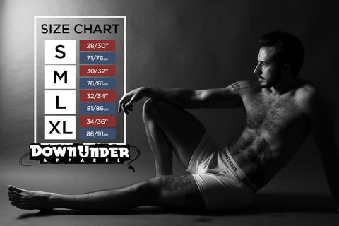 DownUnder Apparel Size Chart. DownUnder Apparel is a brand that prides itself on curating underwear every man can wear.  We are happy to present fun, comfortable and flexible apparel that will keep a genuine smile on your face all day long...