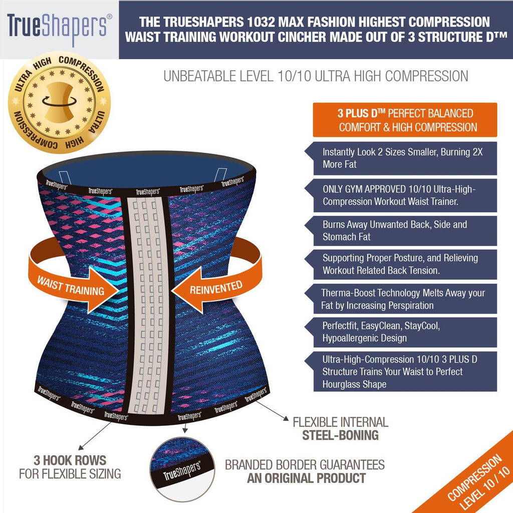 TrueShapers 1032 Latex free Workout Waist Training Cincher Color 03-Print Plus