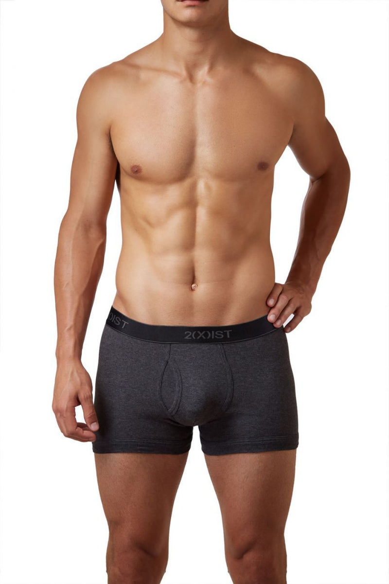 2(X)IST 3102030403 Cotton 3PK Boxer Briefs Color 968NL-Black-Charcoal-Red