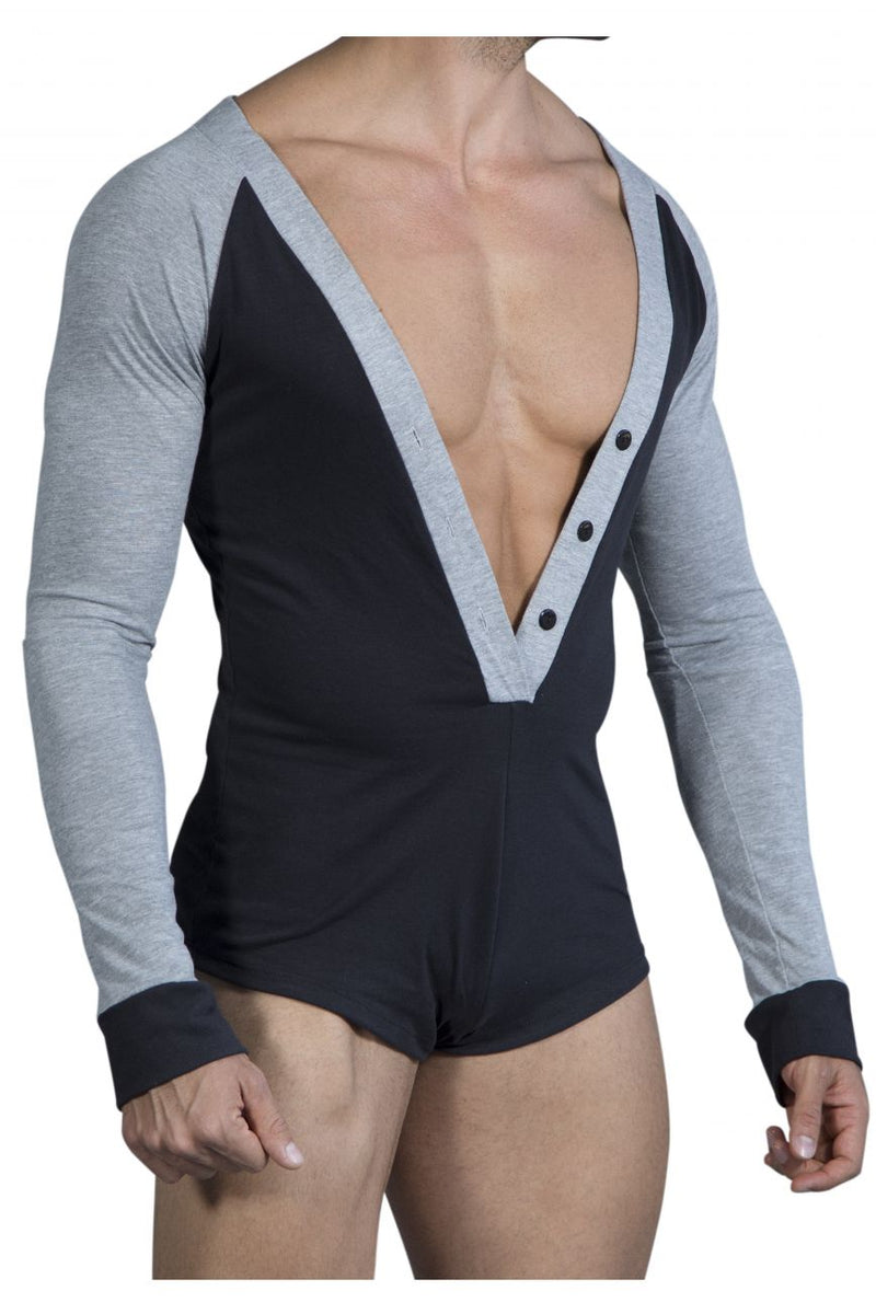 CandyMan 99463 Lounge Bodysuit Color Black-Gray