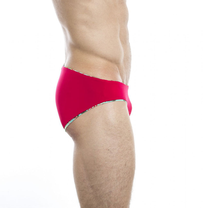 HUNK2 SB20191E Amazonia² Reversible Swim Briefs Color Red