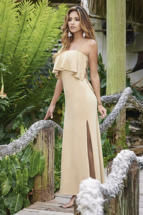 Mapale 4975 Removable and Adjustable Straps Long Dress Color Mocha