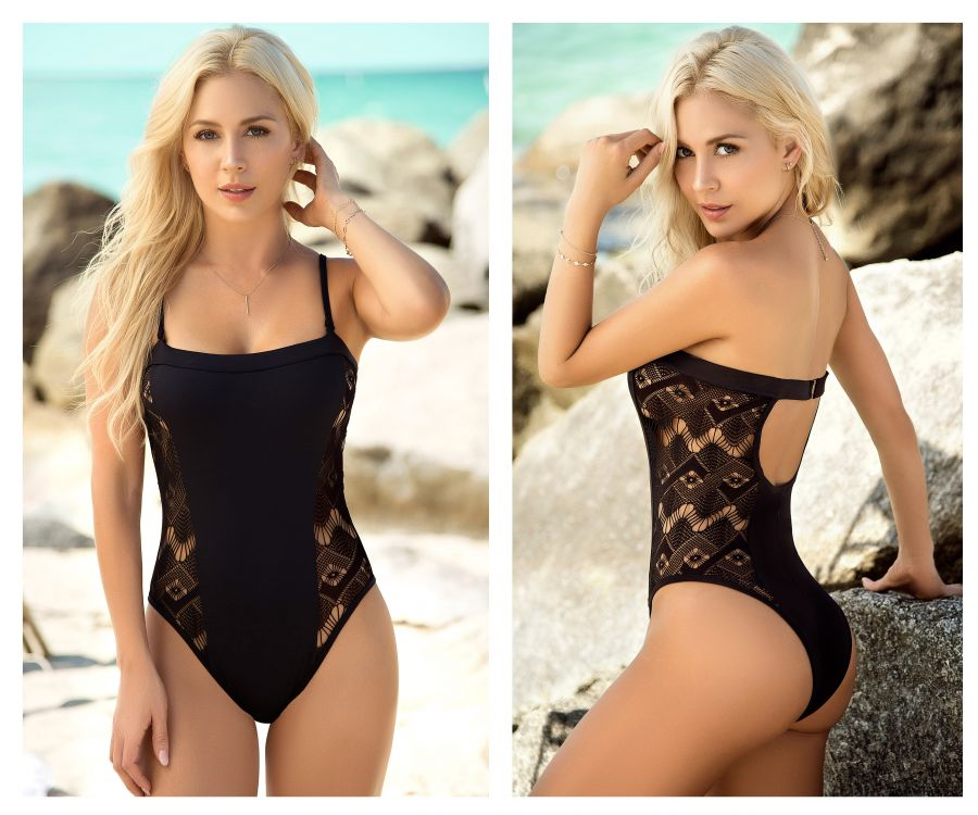 Mapale 6952 One Piece Swimsuit with Netting Sides Color Black