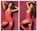 Mapale 8465 Babydoll with Garter Straps and Matching G-String Color Red