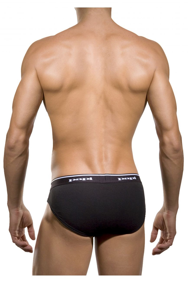 Papi 554101-962 3PK 1X1 Rib Low Rise Brief Color Black-Charcoal-Gray