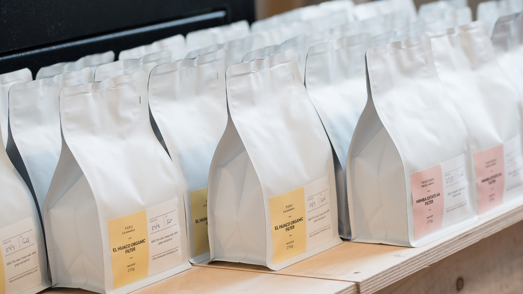 Williams and Johnson bags of retail coffee