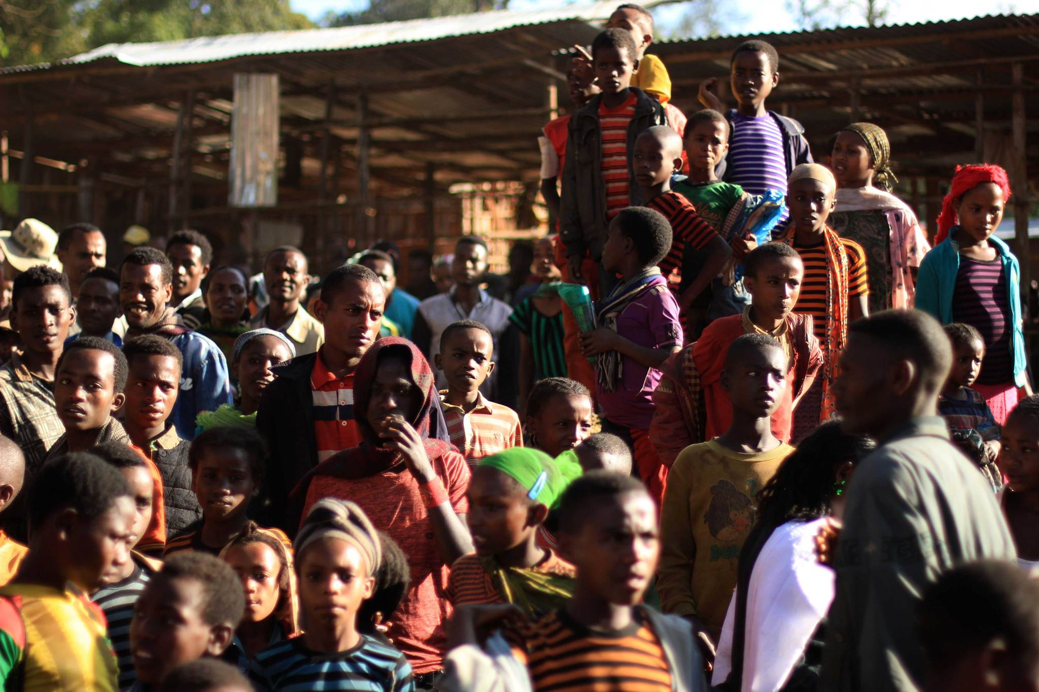 Crowds in the streets of Ethiopia.