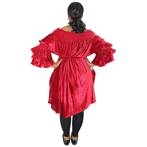 Cinched Top With Velour Off Shoulder And Trumpet Sleeves - FI-3003-Velour