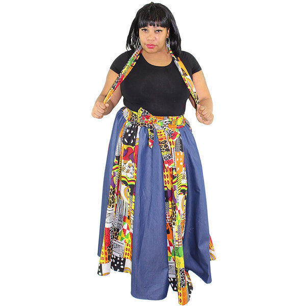 Denim Patch African Print Skirt - FI-43P