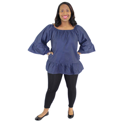 Women's Denim Peplum Top With Long Sleeves - FI-D2001