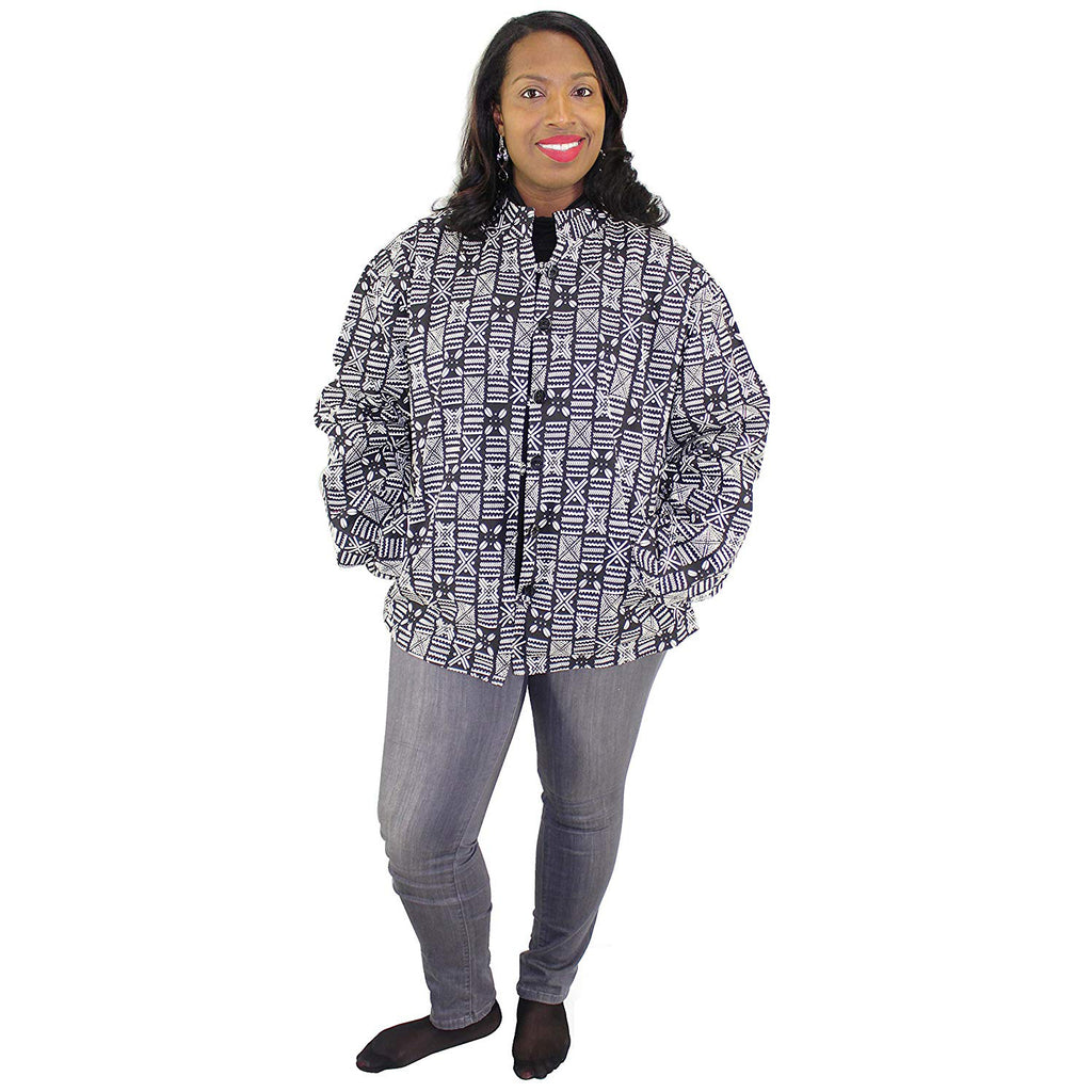 Women's Long Sleeves Printed Button Down Jacket  - 1941