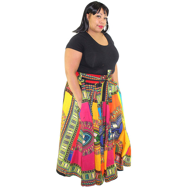 Women's Rainbow Dashiki Maxi Skirt With Elastic Waist - 1864 OM