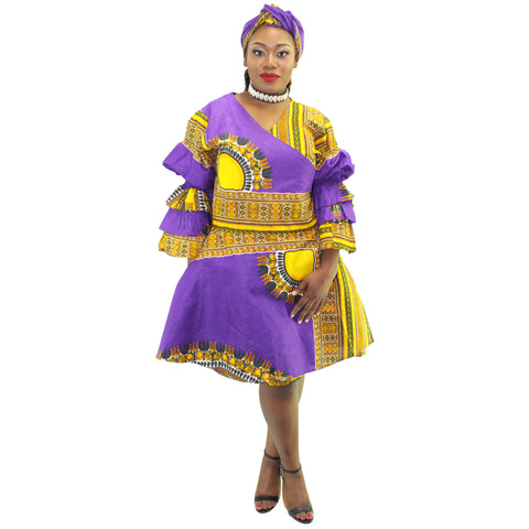 Women's Short Dashiki Wrap Dress - FI-3065