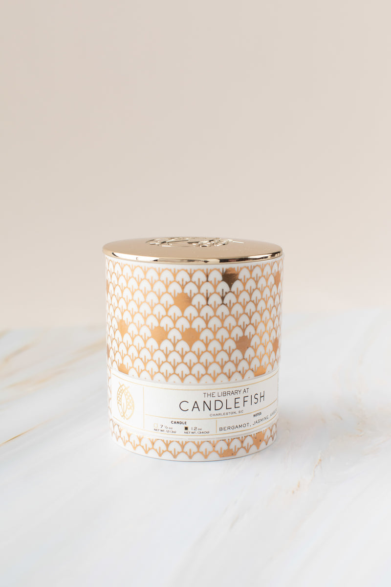 Candlefish No. 83 Gold Scales Ceramic Candle