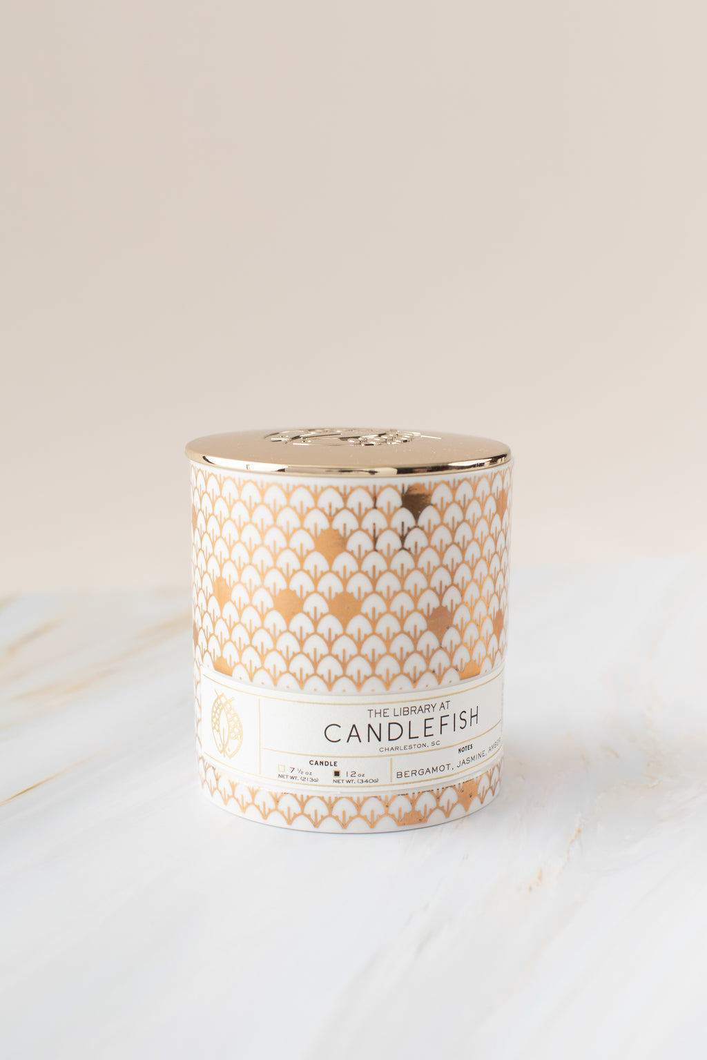 Candlefish No. 25 Gold Scales Ceramic Candle