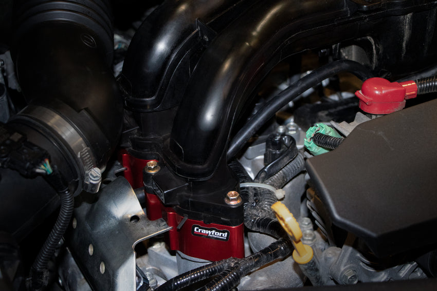 Crawford Billet Power Blocks (BPB) - 2011-2016 Forester 2.5i - Installed Close Up View